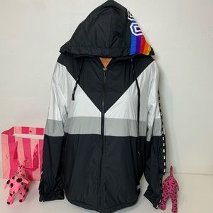 PINK VS ANORAK SHERPA LINED FULL ZIP HOODED